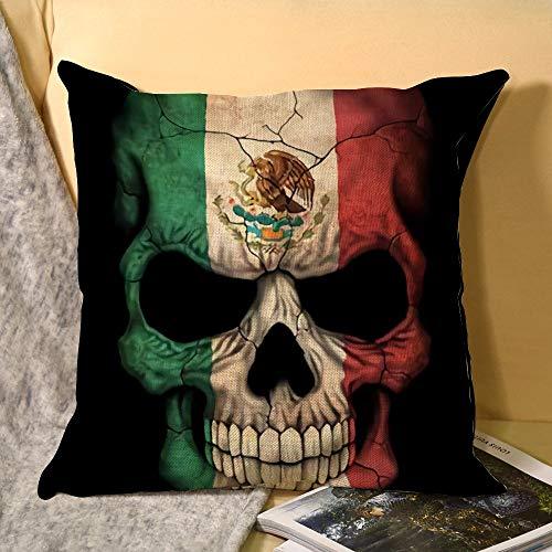 Skull Throw Pillow Flax Pillowcase Gifts Xmas Birthday Gift 18x18