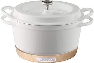 【セット買い】バーミキュラ オーブンポットラウンド 18cm パールホワイト KONAYUKI(粉雪) WH + ナチュラルウッド マグネットトリベット 18cm用 ホワイトハードメープル×ホワイト WHxWH