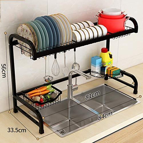 Wasdroger boven de gootsteen voor servies, zwart, met houder voor specerijen, afdruiprek van roestvrij staal, voor kleine keukens, zeer robuust (kleur: zwart, maat: 84 cm en 33 5 cm, 56 keer), 56 cm
