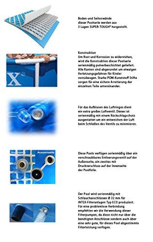 Intex 457x122 Komplettset mit Intex Sandfilteranlage 4m³, Intex Sicherheitsleiter, Intex Anschlusset, Solarfolie Swimming Pool Schwimmbad Frame Met...
