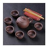 Without Juego de té Purple Clay Tea Pot Juego de té Chino Ceremonia de Té Hermano Jardín Kung-Fu-Tea Set (Color : Multi-Colored)