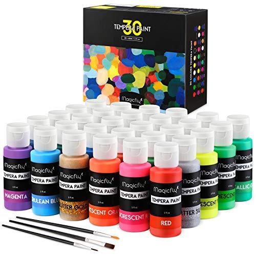 Magicfly Temperafarbe in 60 ml Tuben, 30 Waschbare Bastelfarben mit 3 Bürsten, Verschiedene Glitter, Metallic & Glossy Farben für Kinder, Kunst, Handwerk und mehr für Halloween