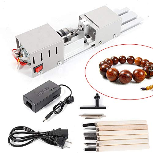 BACHIN Mini Lathe Beads Polisher Machine DIY CNC Machining for Table Woodworking Wood DIY Tool Lathe Standard Set