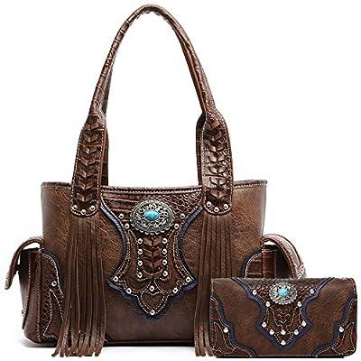 Western Style Cowgirl Fringe Concealed Purse Conchos Totes Country Women Handbag Shoulder Bags Wallet Set (2 Brown Set)