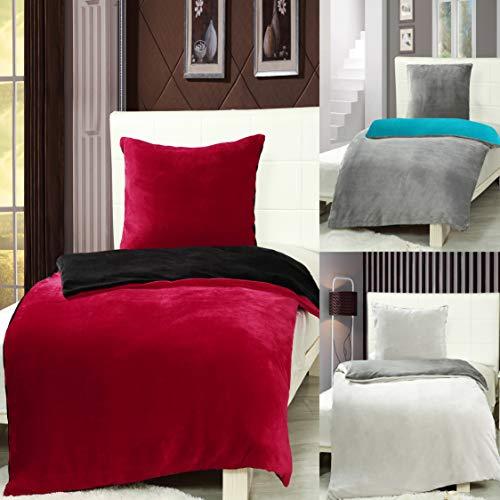 7dreams® Cashmere Touch Bettwäsche 135 x 200 cm + 80 x 80 cm - Anthrazit/Petrol - Plüsch Winter Wendebettwäsche - besonders weich - mit Reißverschluss