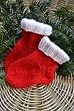 Socken Babysocken Erstlingssocken Stricksocken Babyschuhe Baby rot weiß Weihnachten gestrickt handgestrickt 0-6 Monate
