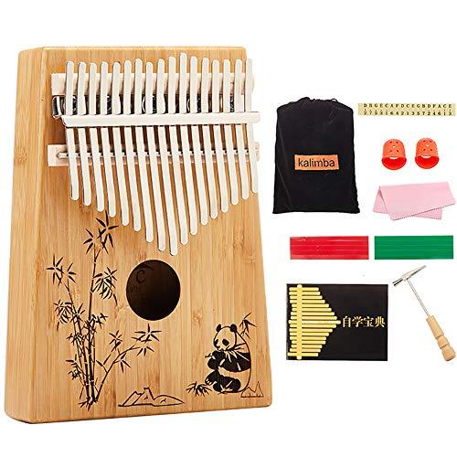 Mbira Kalimba Pianoforte A 17 Tasti In Bambù, Strumento Musicale A Dita Marimbas Con Accessori Completi Libro Di Apprendimento Accordatore, Regalo Per