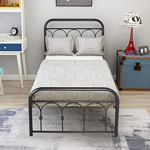 DUMEE Metal Bed Frame Twin Size Platform with Vintage Headboard and Footboard Sturdy Metal Frame Premium Steel Slat Support,Black