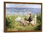 Kunst für Alle Cuadro con Marco: Robert Gemmell Hutchinson Sea Gulls and Sapphire Seas 1912' - Impresión artística Decorativa con Marco, 100x65 cm, Cobre Cepillado
