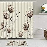 Juego de cortinas y tapetes de ducha de tela,Diente de león Libertad imparable Romance Inspiración Dibujo Planta Pompó,cortinas de baño repelentes al agua con 12 ganchos, alfombras antideslizantes