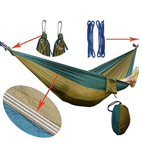 TYJKL Hamaca portátil de Camping Doble acampa Hamaca de Nylon Ligero portátil Hamaca 275 * 140cm (Color : Yellow)