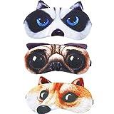 HappyDaily Beautiful and Comfortable Sleep Masks - Set of 3 (3D Dog - Husky/Akita/Pug)