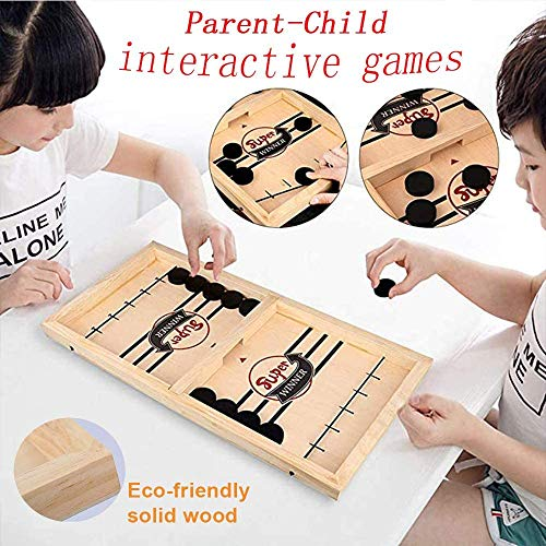 moopok Fast Sling Puck Game ,Slingshot Games Toy,Table Hockey Party Game,Wood Tables Family Games,Winner Board Games Toys for Parent-Child(14.6x9.5x1.4in)