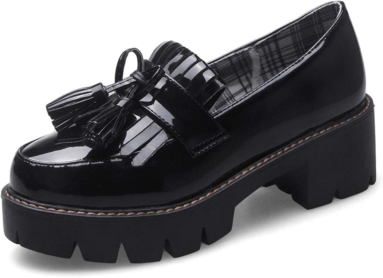DecoStain Womens Patent PU Leather Penny Loafers Flat Low Heel Fringe Tassel Work School shoes
