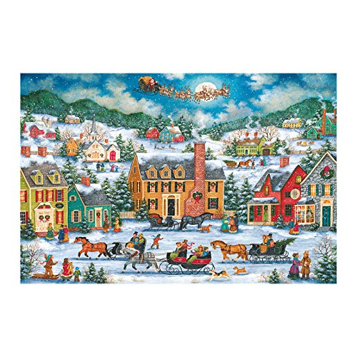 Alangbudu 1000 Piece Christmas Village Theme Jigsaw Puzzle, Santa Claus, Adult Children Puzzle Sets Birthday Christmas Toy (Christmas-F)