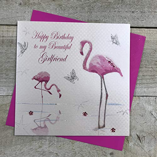 Wit Katoen Kaarten Gelukkig Mooie Vriendin, Handgemaakte Verjaardagskaart (Flamingo's)