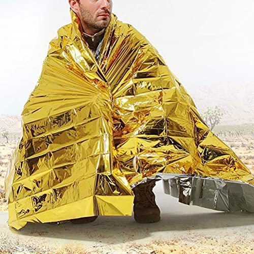 LIOOBO Notfalldecke Überlebensdecke, extra groß - feuchtigkeitsbeständig und 90% Wärmeschutzfolie Weltraum-Solar-Notwärmedecke (Silberne und goldene Doppelfarben)