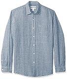 Amazon Essentials - Camicia da uomo a maniche lunghe in lino, a quadretti, vestibilità standard, Navy Gingham, US XL (EU XL - XXL)