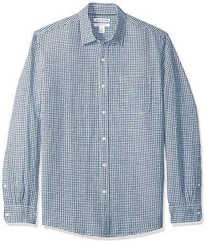 Amazon Essentials - Camicia da uomo a maniche lunghe in lino, a quadretti, vestibilità standard, Navy Gingham, US M (EU M)