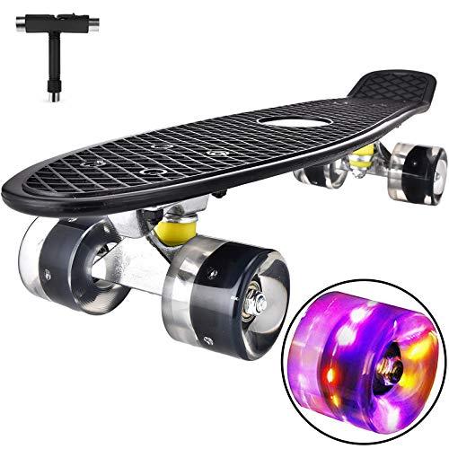 DaddyChild Mini Cruiser Skateboard Retro Komplettboard, 55cm Vintage Skate Board mit Kunststoff Deck und blinkenden LED-Rollen, Cruiser-Board mit LED Leuchtrollen für Erwachsene Kinder Jungen (Black)