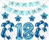 """Decoraciones de 18 Cumpleaños,""""Happy Birthday"""" Bandera Banner, Set globo azul 18 año, Clásico Número 18 Globo para cumpleaños, decoración de bodas, decoración de fiesta (azul18)"""