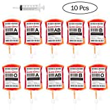 BESTONZON Blood Bags for Drinks, 10 Pack IV Bags Drink Containers with Fast Filling Syringe and Labels Halloween Zombie Party Favors