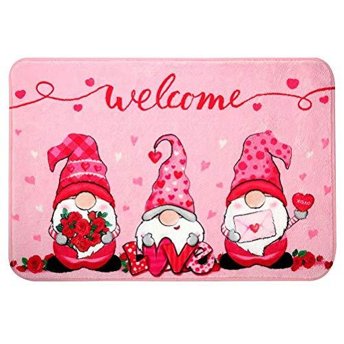 Alfombrilla de bienvenida con patrón de elfo de dibujos animados, felpudo de San Valentín, alfombras decorativas para sala de estar, dormitorio, lavable para puerta principal, pasillo, cocina, baño
