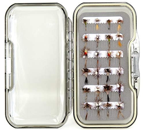 Outdoor Planet Dry Fly 24 Adams Fly Lure Assotment + Waterproof Fly Box for Trout Fly Fishing Flies
