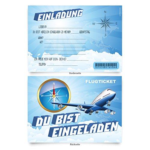 """Geburtstagskarten (8 Stück)\""""Flugzeug\"""" zum Einladen Einladungskarten Karten"""