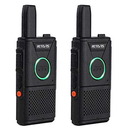 Retevis RT618 Funkgerät Mini Notfall Walkie Talkie Lizenzfrei 16 Kanäle VOX Dual PTT Ultradünn PMR Funkgerät Set Wiederaufladbar USB Ladekabel (1 Paar, Schwarz)