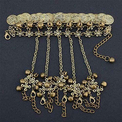 Pulsera esclava de borla multicapa simple de aleación de color dorado y plateado brazalete de cadena de dedo arnés de cadena de mano accesorios de joyería (color metálico: chapado en plata)