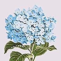 DMFNGJSD 数字油絵 フレーム付き、数字キット塗り絵 手塗り DIY絵-青い花 40X50cm