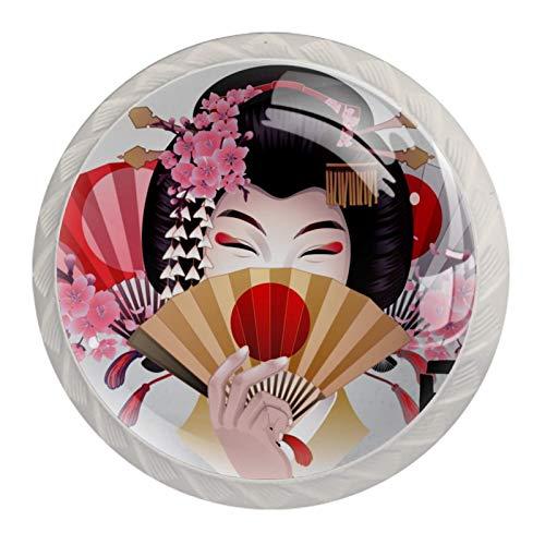 Perillas de cristal japonesas para mujer de 1,18 pulgadas (4 unidades)