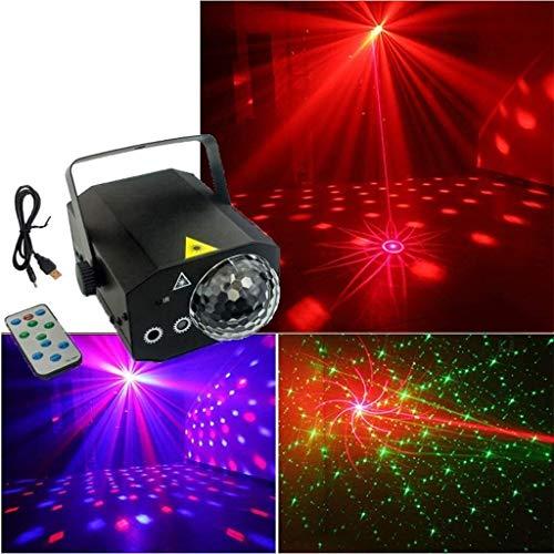 Bühnenbeleuchtung Mini LED Bunte Projektion Lichter, USB Sprachaktivierte Fernbedienung Magic Ball Bühnenbeleuchtung DJ Voice-Activated Licht, Flash-Party-Weihnachtsbeleuchtung ANGANG