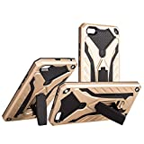 Case for Xiaomi Redmi 5A Prime + Tempered Glass Screen Protector, [Military Grade Shockproof Protection] Dual Layer Full-Body Rugged Heavy Duty Armor with Built-in Adjustable Kickstand (Gold)