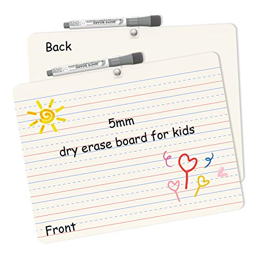 """2 Pack Dry Erase White Board for Kids 9"""" X 12"""" Double Sided Lined Plain Small Whiteboard Dry Erase Lapboard Mini Whiteboard for Students"""