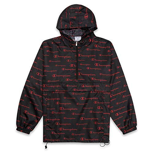 Champion Men's Big and Tall 1/2 Zip Allover Print Anorak Jacket Black/Red XLT
