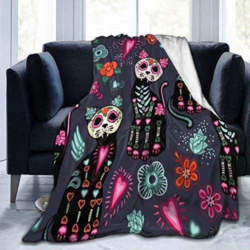 """ZHLP Day of The Dead and Halloween Cats Blanket Ultra Soft Thick Bed Blanket Soft Coral Flannel Blanket Micro Fleece Blanket for Sofa Couch Bed Chair Office Sofa Soft 80""""x 60"""""""