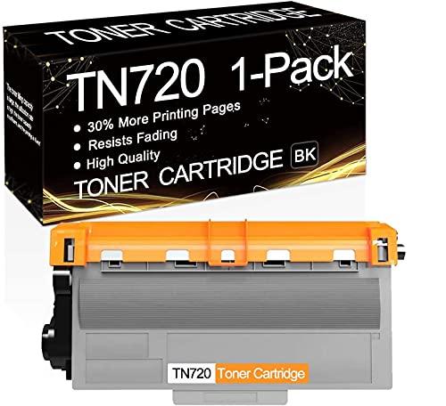 1 Pack TN-720 Black TN720 Toner Compatible Toner Cartridge Replacement for Brother HL-5440D HL-5450DN HL-5470DW HL-6180DW DCP-8110DN MFC-8710DW MFC-8810DW MFC-8910DW MFC-8950DW Printers.