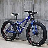LJLYL Fat Tire - Bicicleta de montaña juvenil para hombres y mujeres, cuadro de acero al carbono alto, suspensión Soft Tail Dual, freno de disco mecánico, color azul, tamaño 26 inch 27 speed