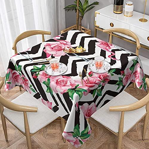 Tropic - Mantel rectangular con diseño de flamencos y rosas, impermeable, protector de mesa para comedor, fiesta, cocina, picnic, interior y exterior, 156 x 152 cm