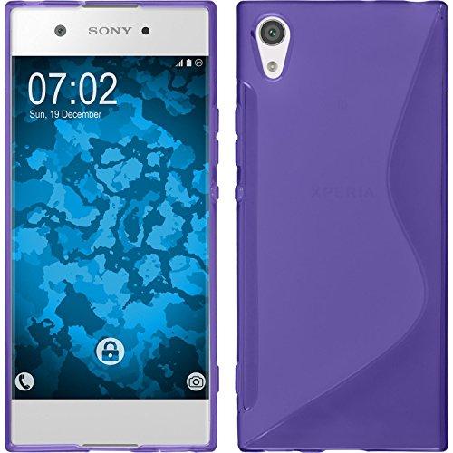 Preisvergleich Produktbild PhoneNatic Case kompatibel mit Sony Xperia XA1 - lila Silikon Hülle S-Style + 2 Schutzfolien