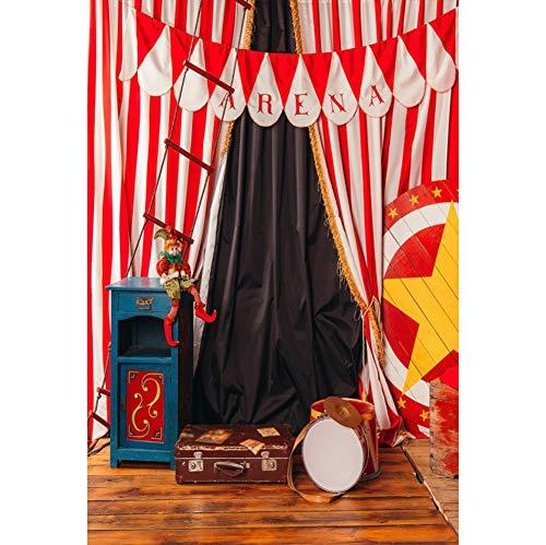 Cassisy 2x3m Vinilo Circo Telon de Fond Decoración de Carpas de Circo Cortinas De Circo Payaso Accesorios de Circo Fondos para Fotografia Party bebé Infantil Photo Studio Props Photo Booth