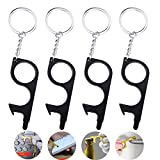 No Touch Door Opener, 4 Pack Non-Contact Elevator Button Pusher with Touchscreen Stylus Hook, Push Door Handle, Hands Free Metal Keychain Tools to Press Elevator, ATM, Cell Phone Screen (Black)