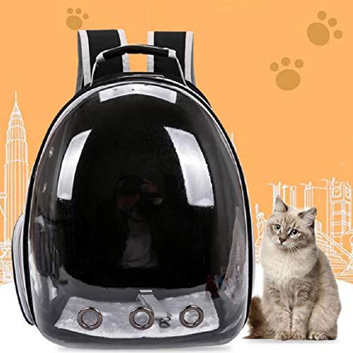 ZISITA Transparent Spielraum-Haustier-Tragetasche, Moderne Bewegliches Raumkapsel Blase Katze Hund Träger Rucksack, Atmungsaktiv Carriers,Schwarz