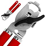 VESKYAO 4-in-1 Can Tin Opener Bottle Opener, Never Rust Stainless Steel, Built-in Magnet to Lift The Can Lid or Stick to Fridge, Ergonomic Handle, Replaceable Gear