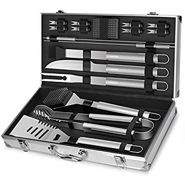 KANGORA Professional BBQ Grill Utensils w/Storage Case (18-Piece Set) Stainless Steel Barbecue Tools | Outdoor Cooking Accessories | Spatula, Tongs, Cleaning Brush, Baster & More