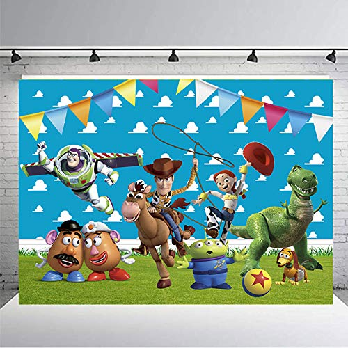 Toy Story Theme Photography Backdrop 7x5ft Blue Sky White Clouds Photo Background for Kids Birthday Party Backdrops Decoration