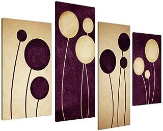 Purple Plum Decor Canvas Wall Art Pictures - Set of 4 - Abstract Artwork - Split Canvases - Multi Panel - XL - 130cm / 51