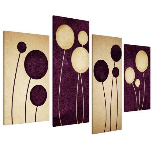 Wallfillers Impression sur Toile - Abstrait Cercles Bruns et Crèmes - 4 Parties Canvas 4124